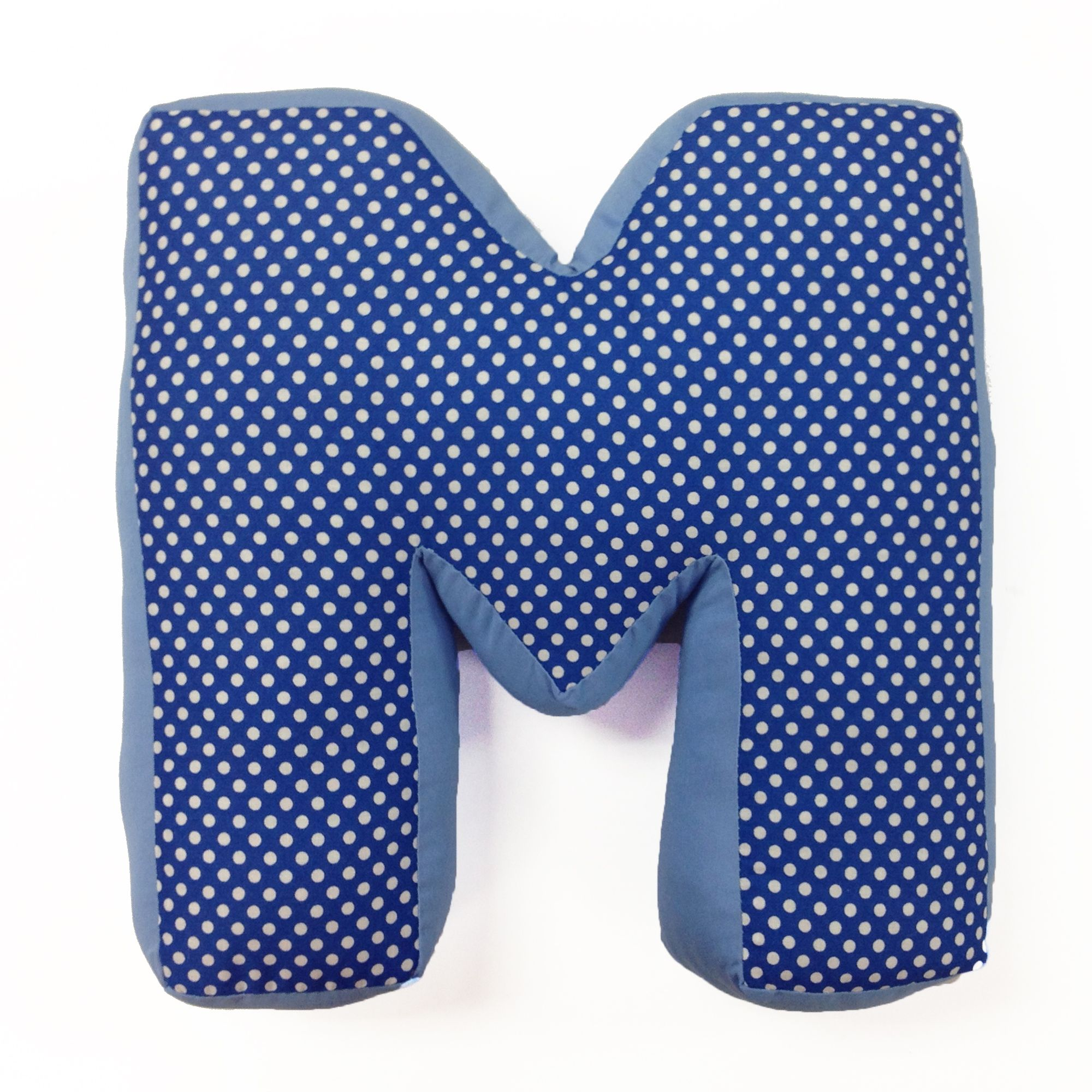simplicity blue m letter pillow