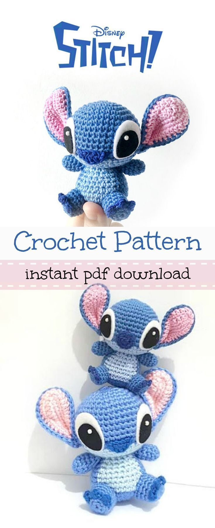 Disney's Stitch from Lilo and Stitch amigurumi crochet pattern. #DisneyCrochetPatterns #amigurumicrochet