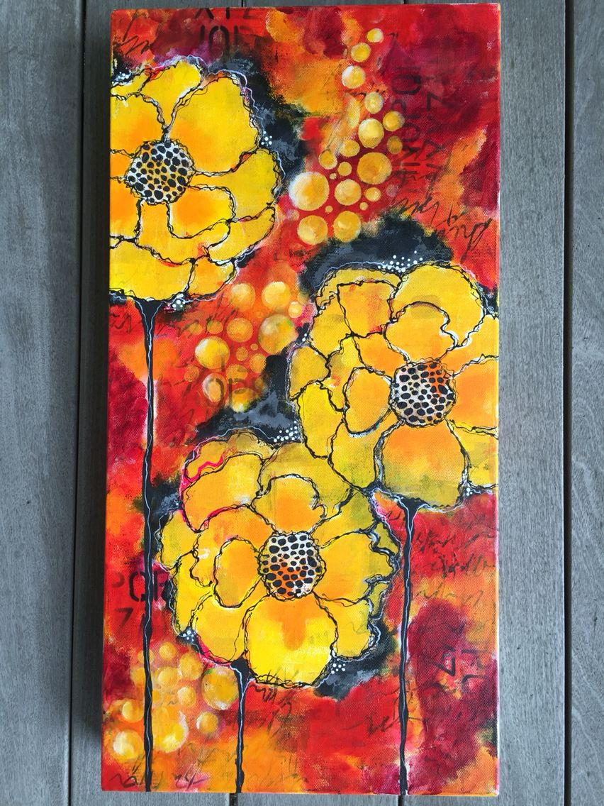 "Lots of layers, stencils, acrylic paint. 12x24"" canvas by Betsy Walcheski"