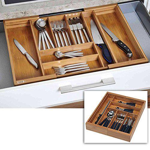 SIDCO ® XL Besteckkasten ausziehbar Schubladeneinsatz Besteckeinsatz ...