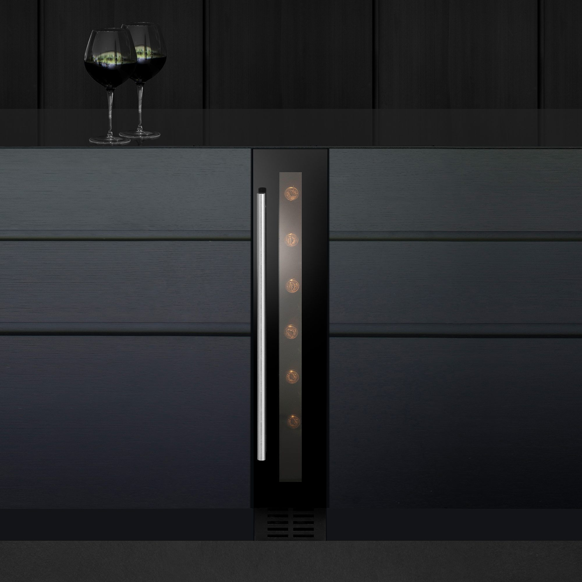 At Only 145mm Wide The Caple Wi154 Slim Line Built Under Wine Coolers Can Store Up To 7 Bottles Of Wine At A Small Wine Cooler Built In Wine Cooler Wine Cooler