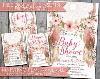 Dreamcatcher Baby Shower Invitation Boho by PerfectPrintableCo