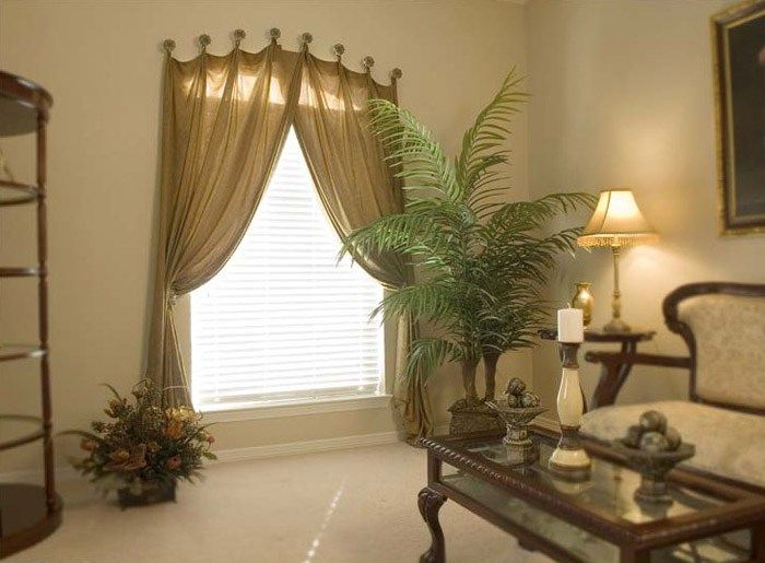 Arched Window Treatments Diy With With Decorative Plants Beside The