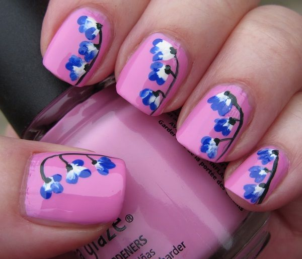 Nail Art Designs Pink And Blue To Bend Light