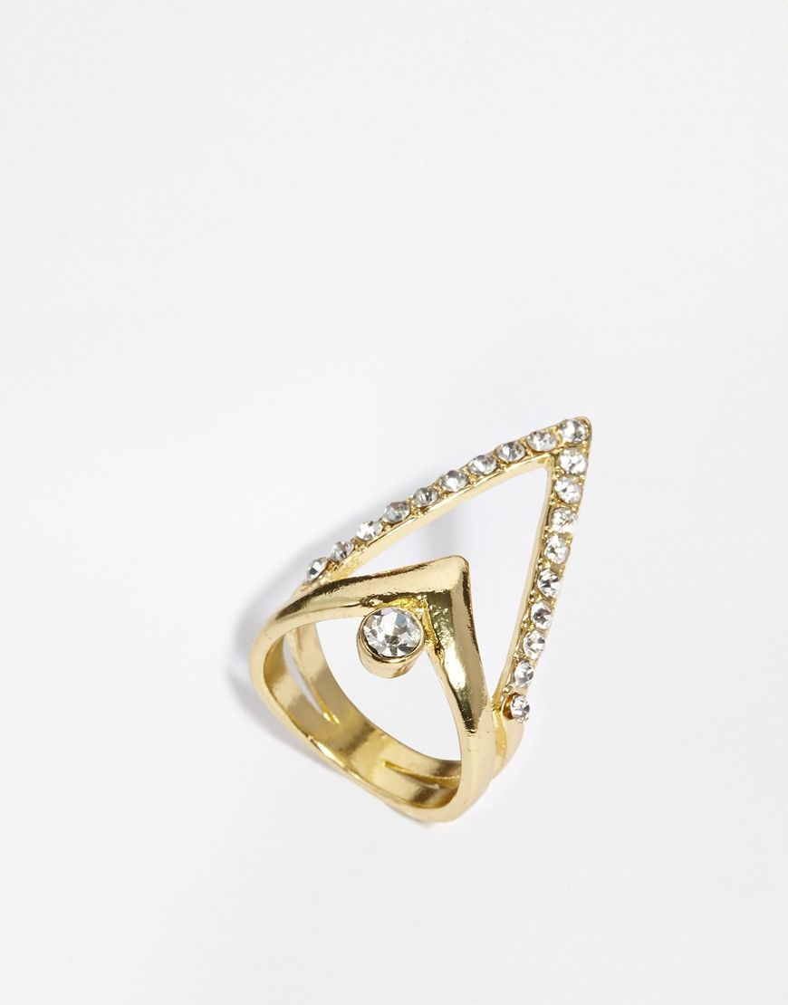 River Island Gold Jewelled Triangle Rings