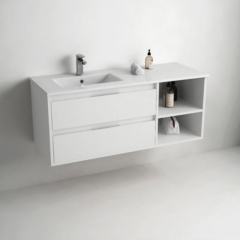 Meuble De Salle De Bain Suspendu Blanc 120 Cm Pour Vasque A Poser