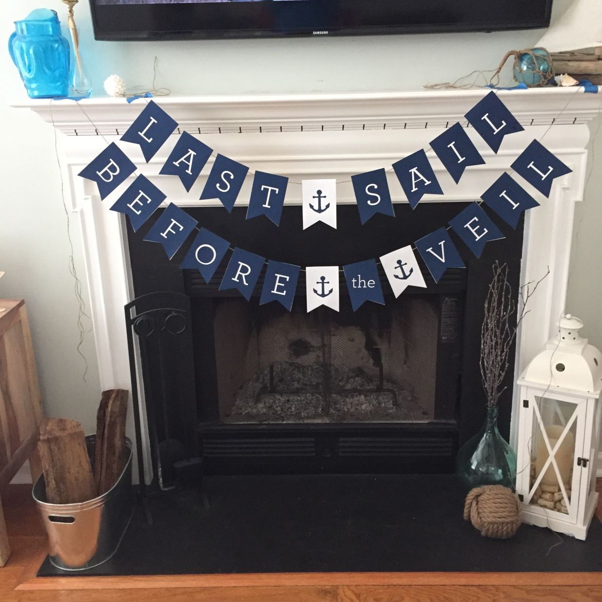 DIY nautical bachelorette banner  with cardstock: Last Sail Before the Veil