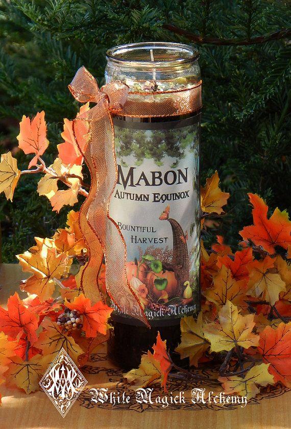 Mabon Autumn Equinox Glass Vigil Candle . by WhiteMagickAlchemy #autumnalequinox