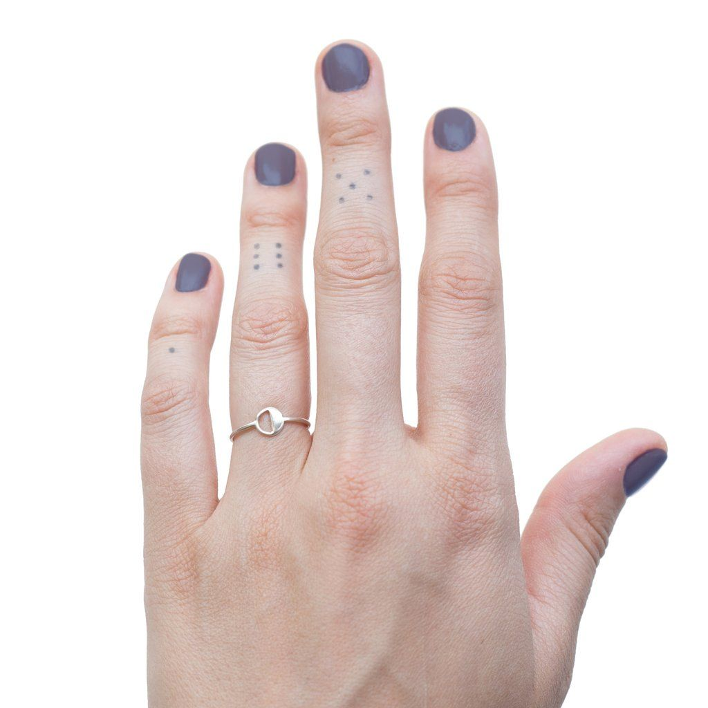 GEOMETRIC STACKING RING circle half circle wire band ring in silver ...