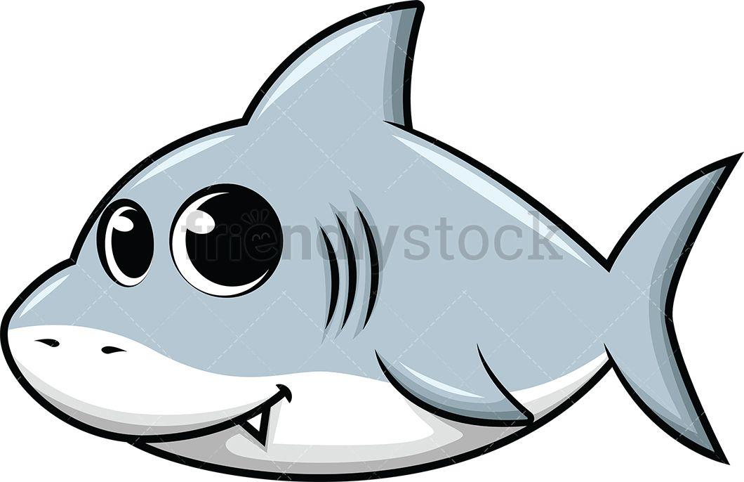 Cute Baby Shark Cartoon Vector Clipart Friendlystock Baby Animal Art Shark Illustration Shark Painting