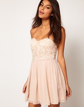 Blush Pink - I see a theme with the floral embellishments $50  Elise Ryan Cornelli Trim Bandeau Skater Dress