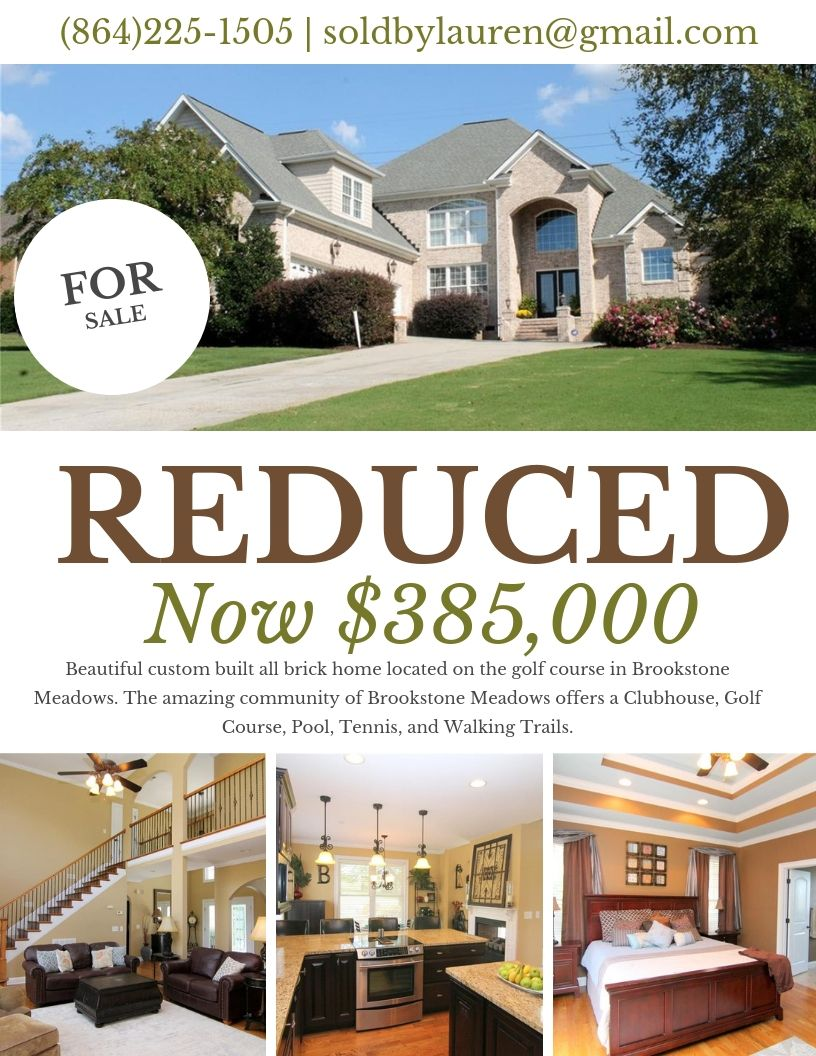 Just Reduced 100 Turnberry Rd Anderson Is Now 385 000 This Custom Built All Brick Home Is On One Of The Largest Lots Club House Custom Build House Styles