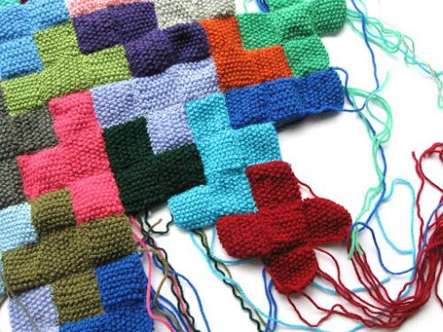 Im Using My Leftover Bits Of Yarn To Knit Mini Squares Then