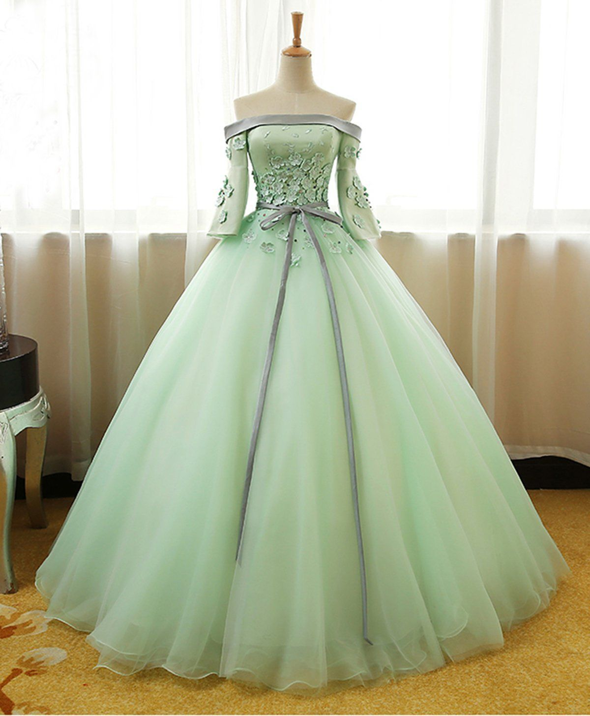 Mint Green Off The Shoulder Prom Dresses Applique Chiffon Evening Ball Gown Gowns Dresses Prom Dresses [ 1455 x 1200 Pixel ]