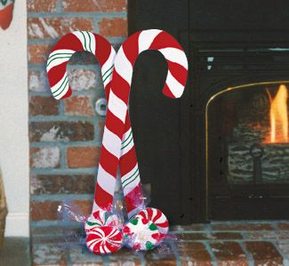 wooden candy cane yard decorations | ... four christmas ...