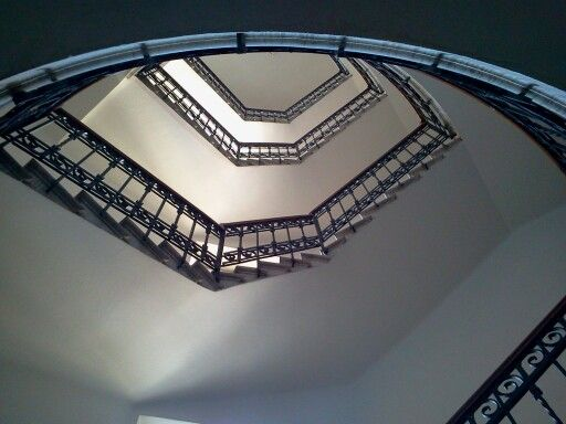 An old staircase in forli, rationalist architecture