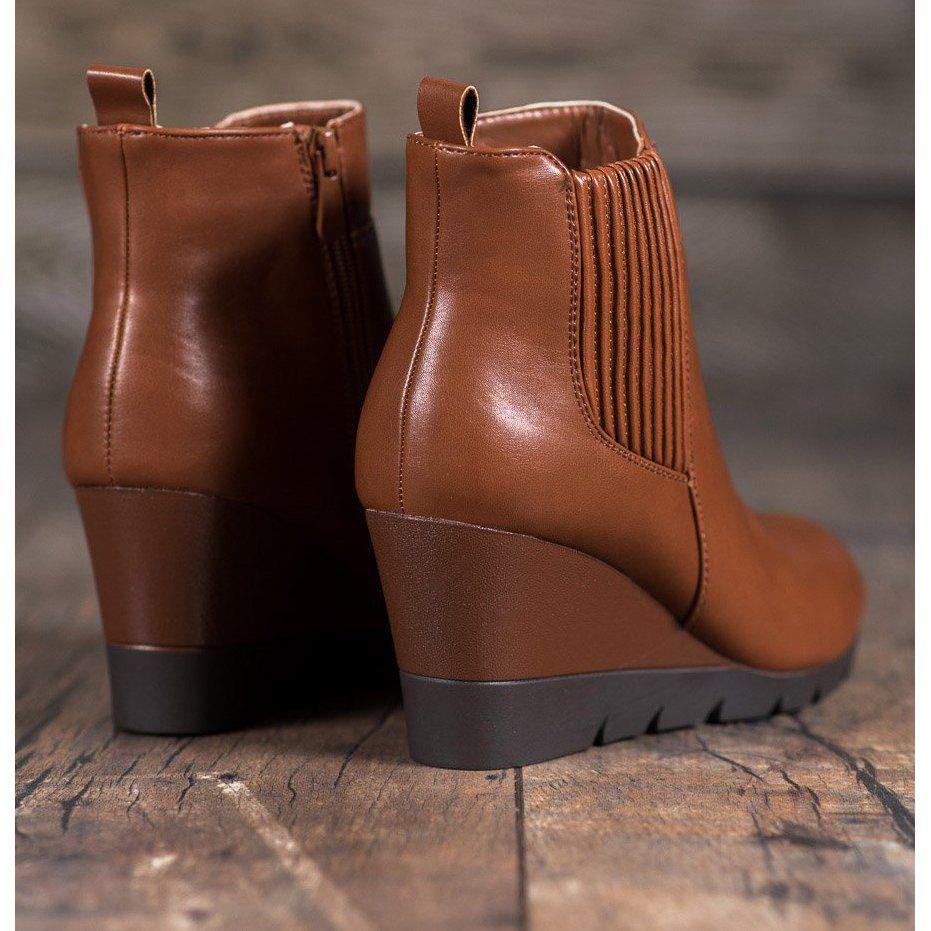 Shelovet Botki Na Koturnie Brazowe Shoes Boots Wedge Boot