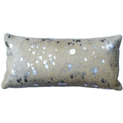 silver metallic cowhide lumbar pillow