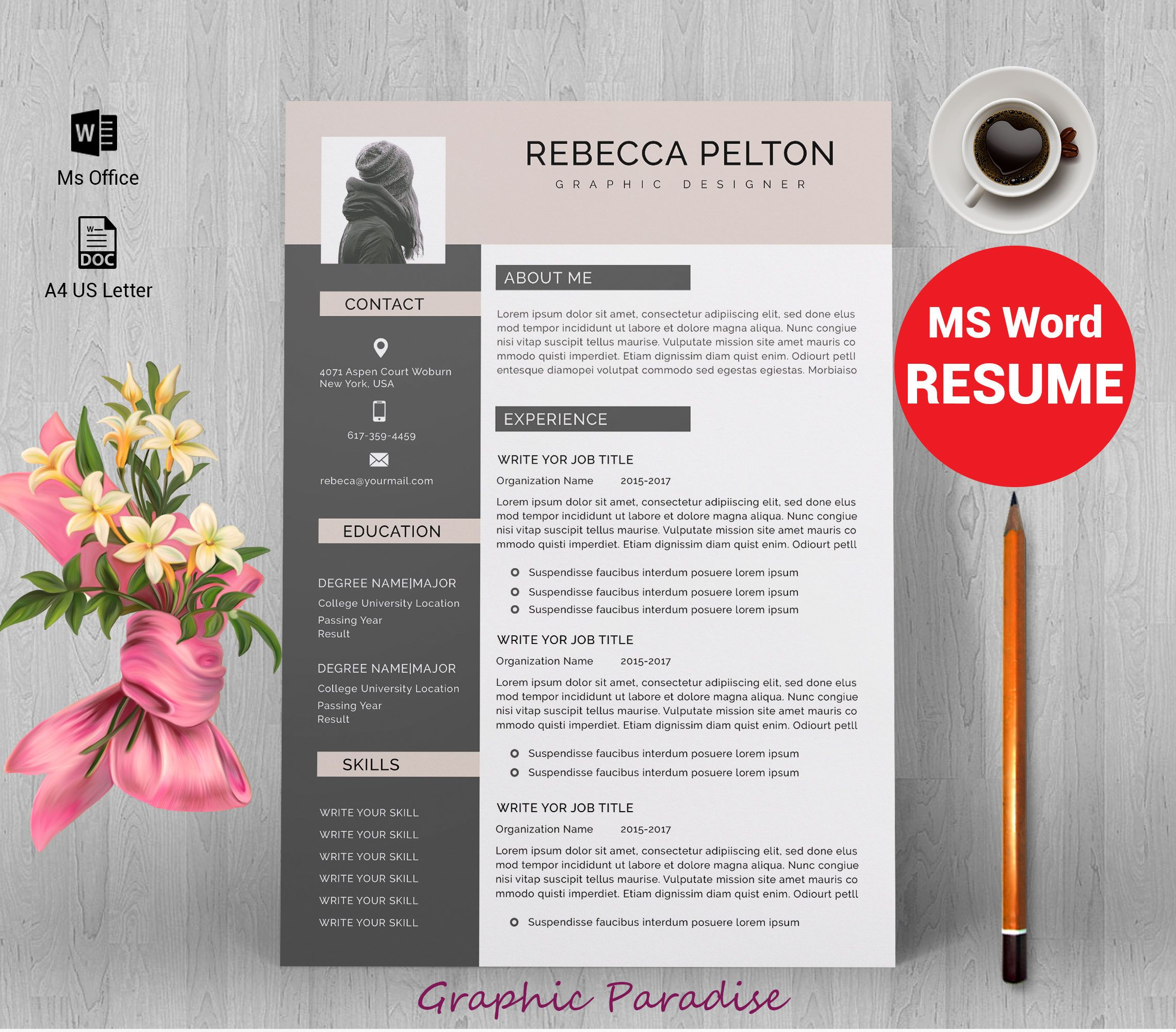 Resume template|Professional resume template|Resume template word|CV ...