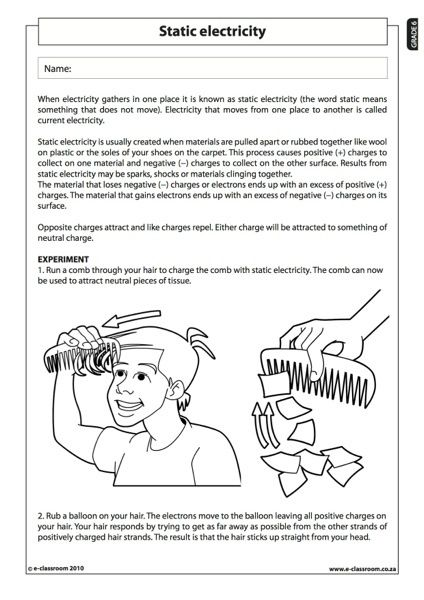 Static Electricity Experiment Science Worksheets Science Electricity Static Electricity