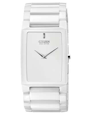 Citizen Unisex Eco-Drive Stiletto Blade - White Ceramic - 5.65mm Case Thickness