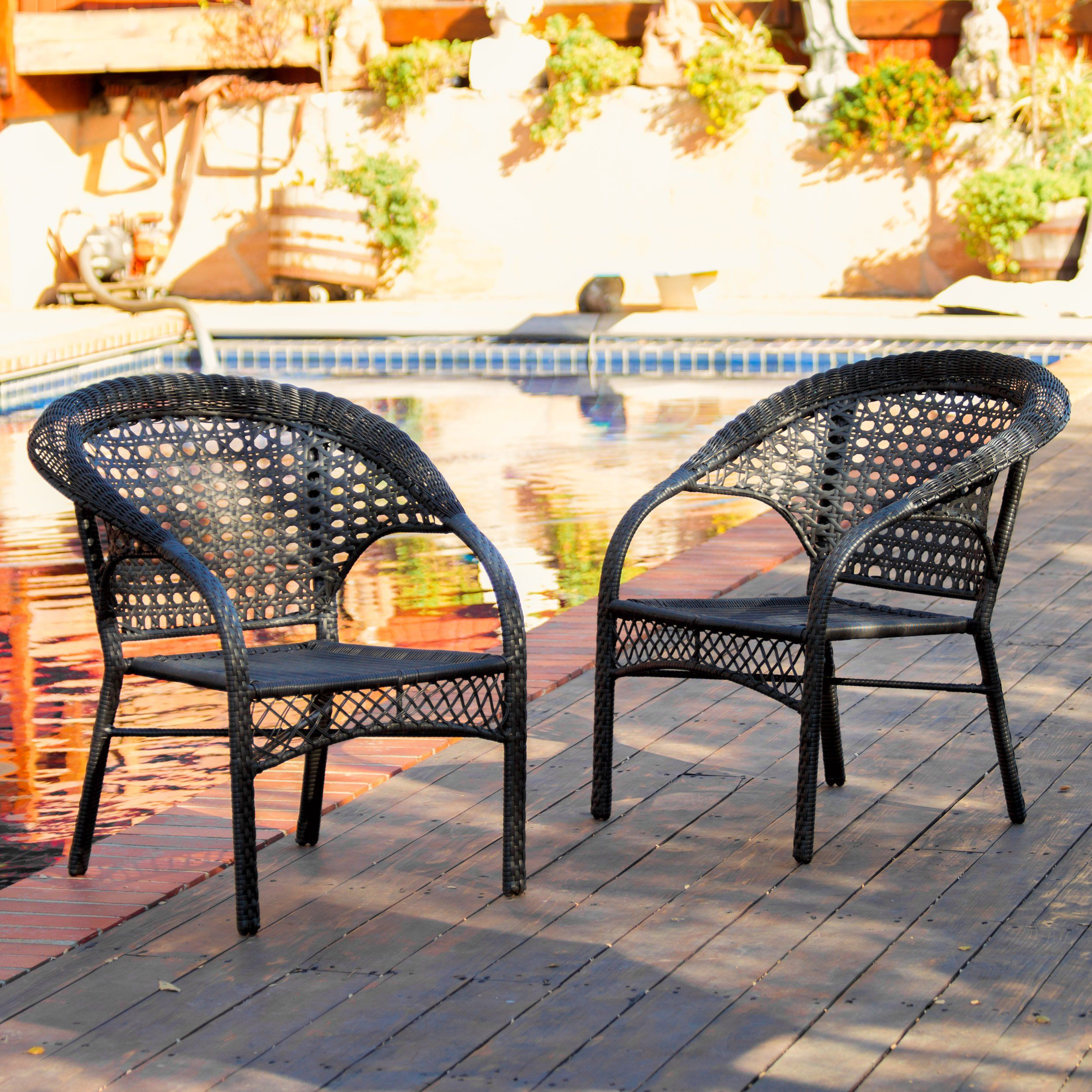 black wicker dining chairs. Malibu Patio Furniture ~ Outdoor Wicker Stacking Dining Chair (Set Of 2)( Black Chairs