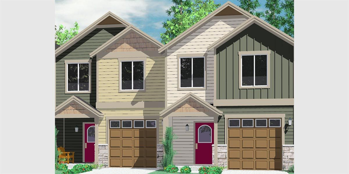 House front color elevation view for d 542 duplex house Narrow lot duplex
