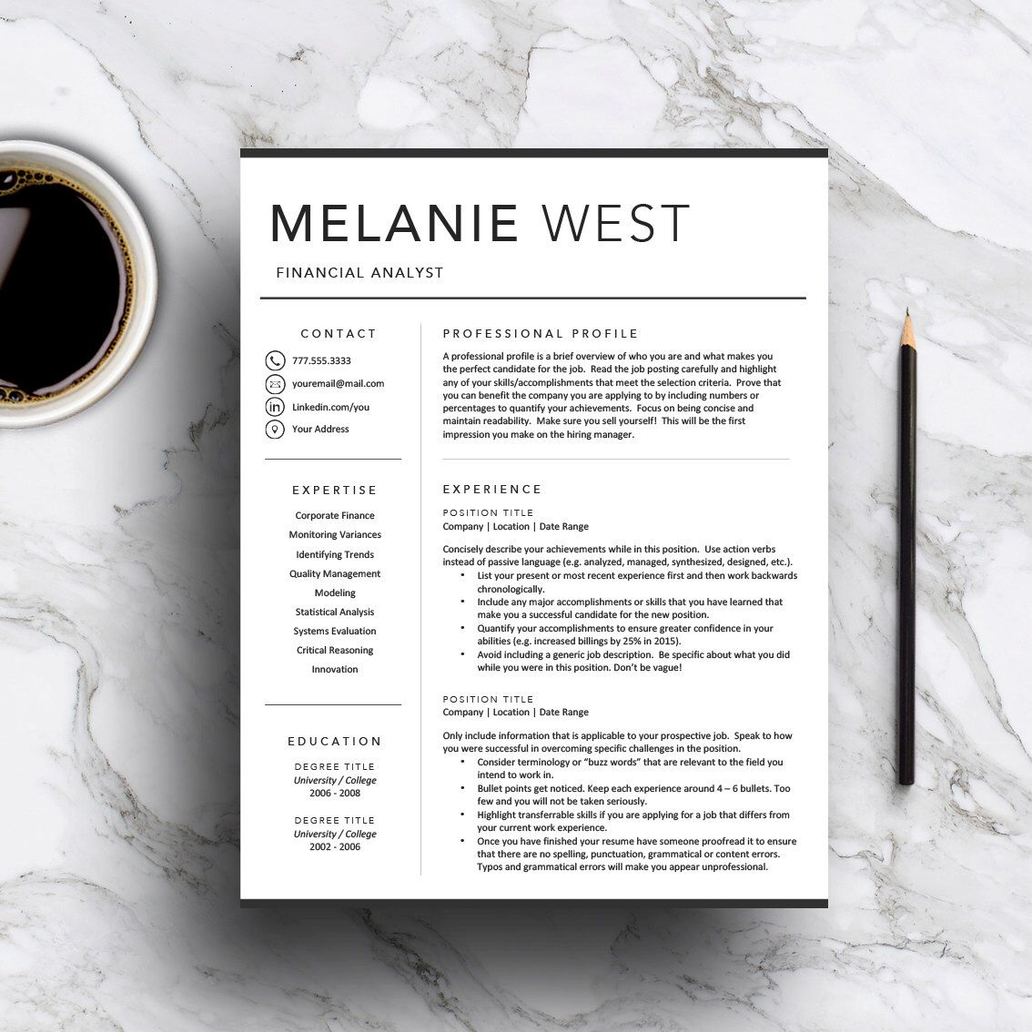 Professional Resume Template For Word  Pages  Includes