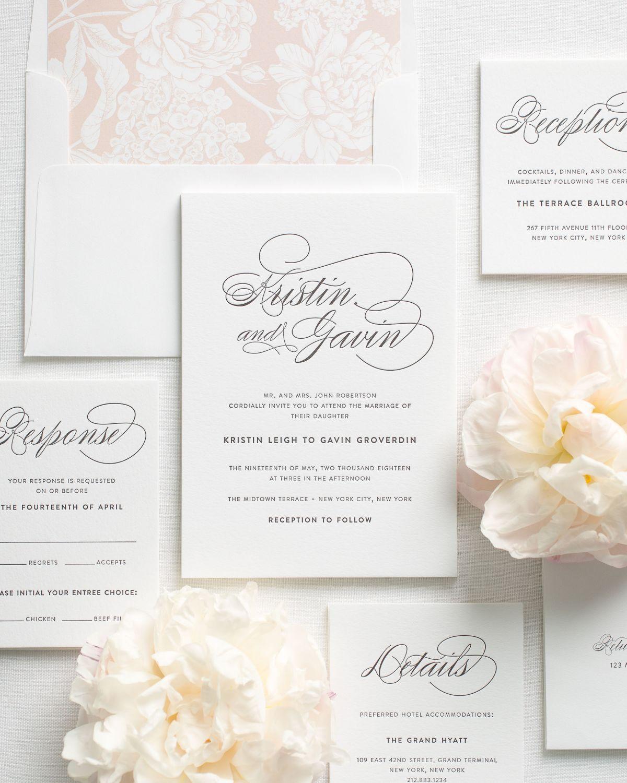 Script Elegance Letterpress Wedding Invitations   Letterpresses ...