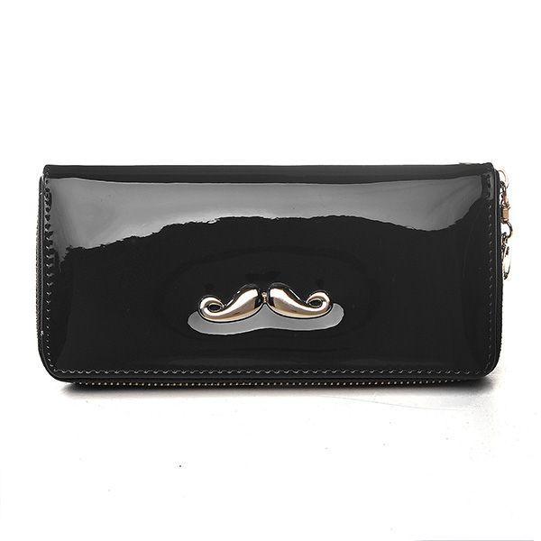 Women Moustache Leather Long Wallet Zipper Clutch Purse Iphone 5 Wallets Australia For Versace Womens Zelda
