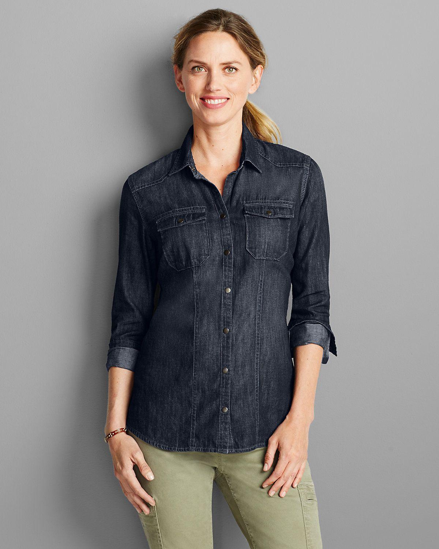 Women's Longsleeve Denim Shirt Eddie Bauer Long