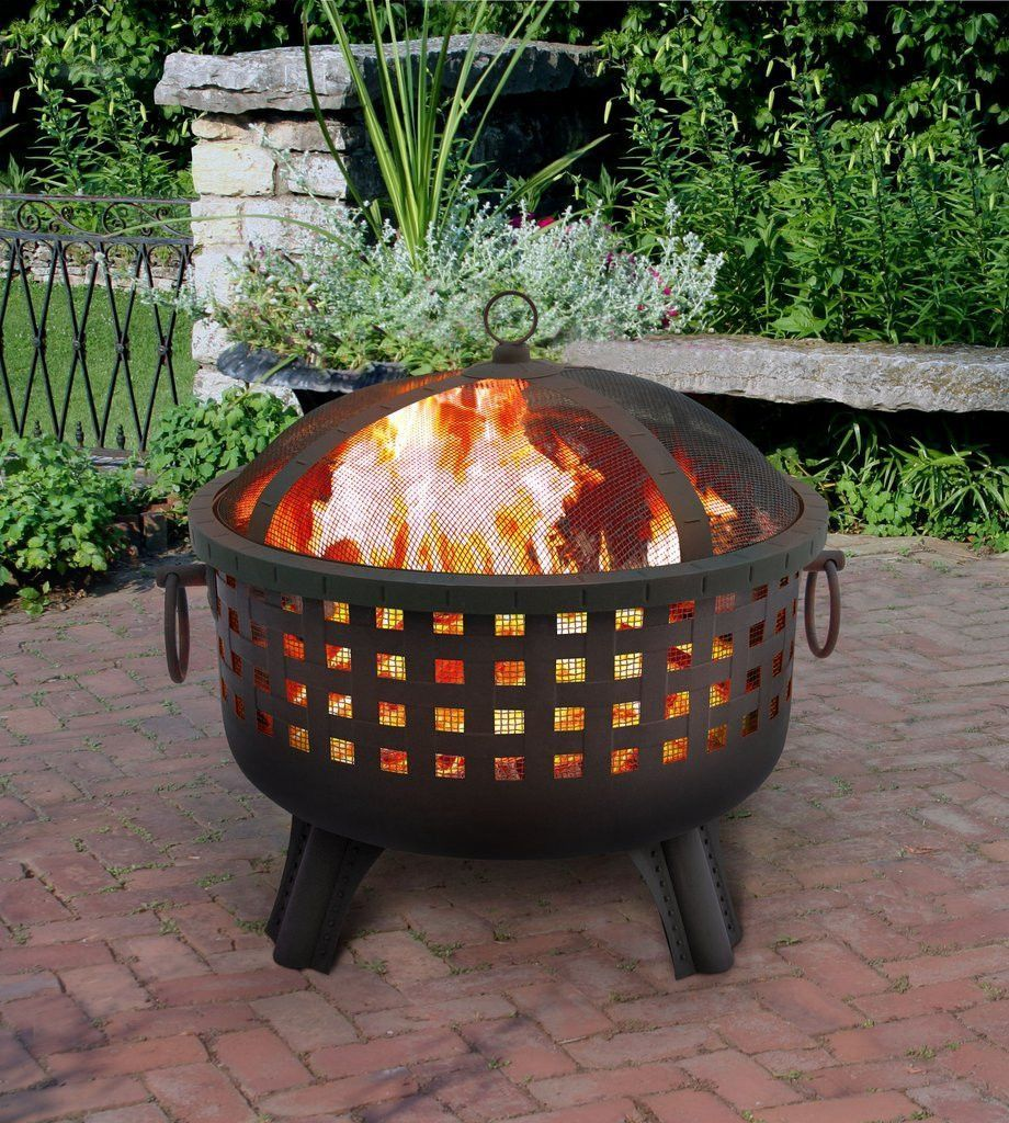 This firepit has unique and stylish open weave cutouts ...