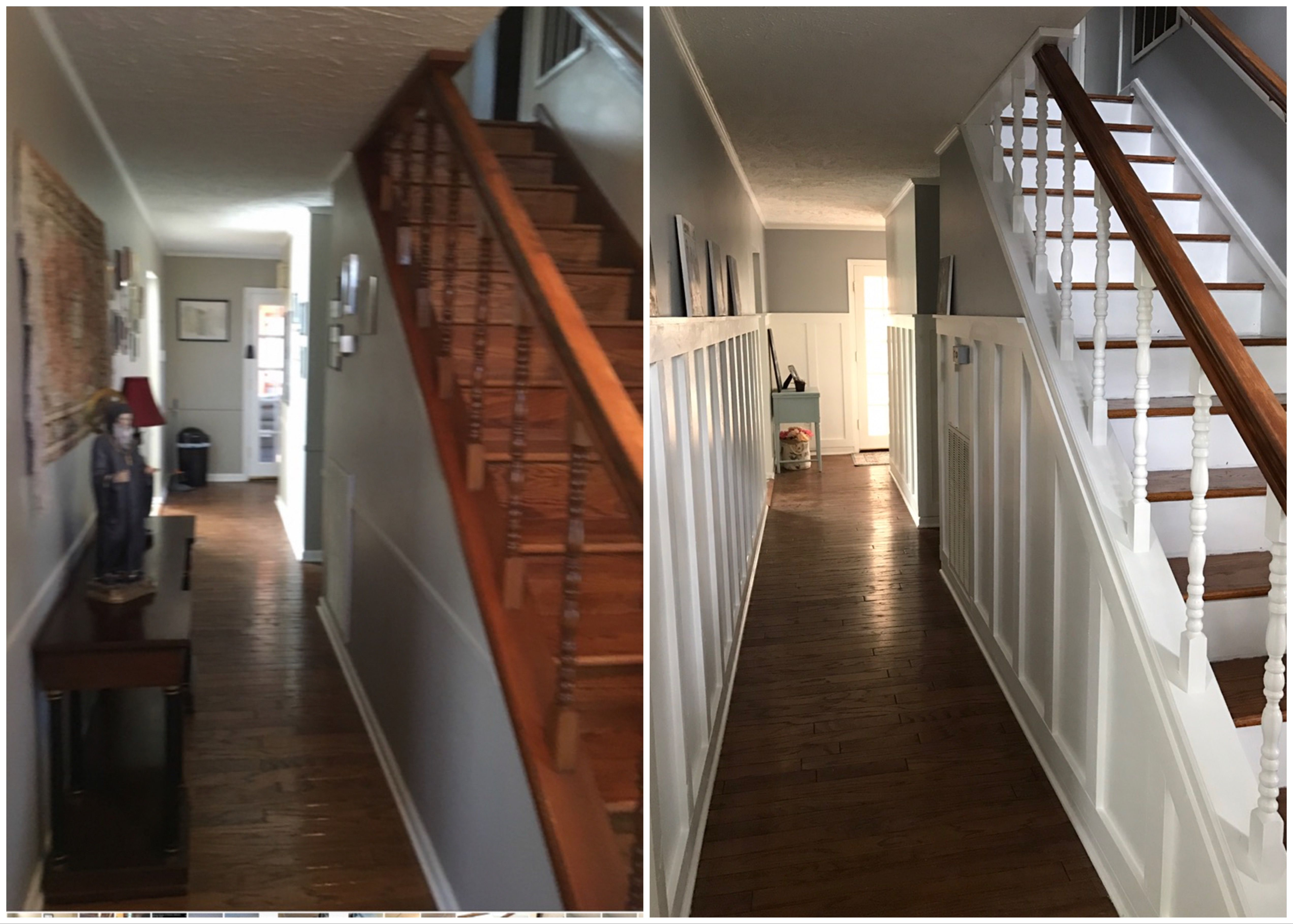 Painted Stairs And Board And Batten In Hallway Brightens Up