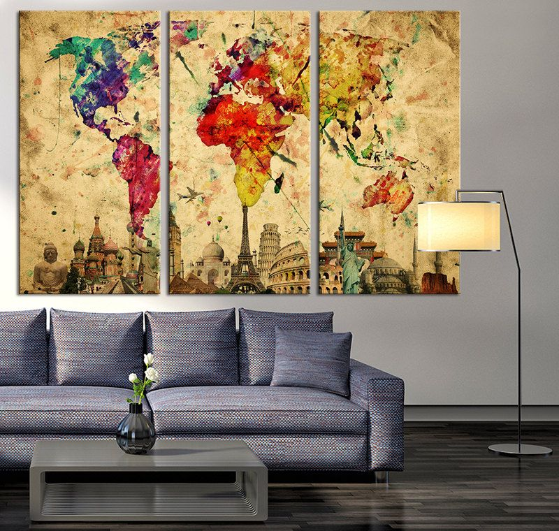 Art de mur monde aquarelle carte toile par ExtraLargeWallArt ...