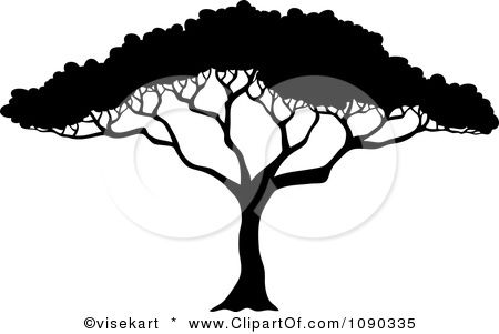 Clipart Silhouetted Acacia Tree With Lush Foliage Royalty Free