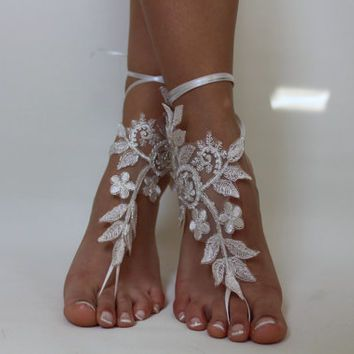 Ivory Lace Beach Wedding Barefoot SandalsLace ShoesBridal SandalsSummer