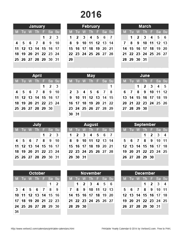 Download A Free Printable 2016 Yearly Calendar From Vertex42