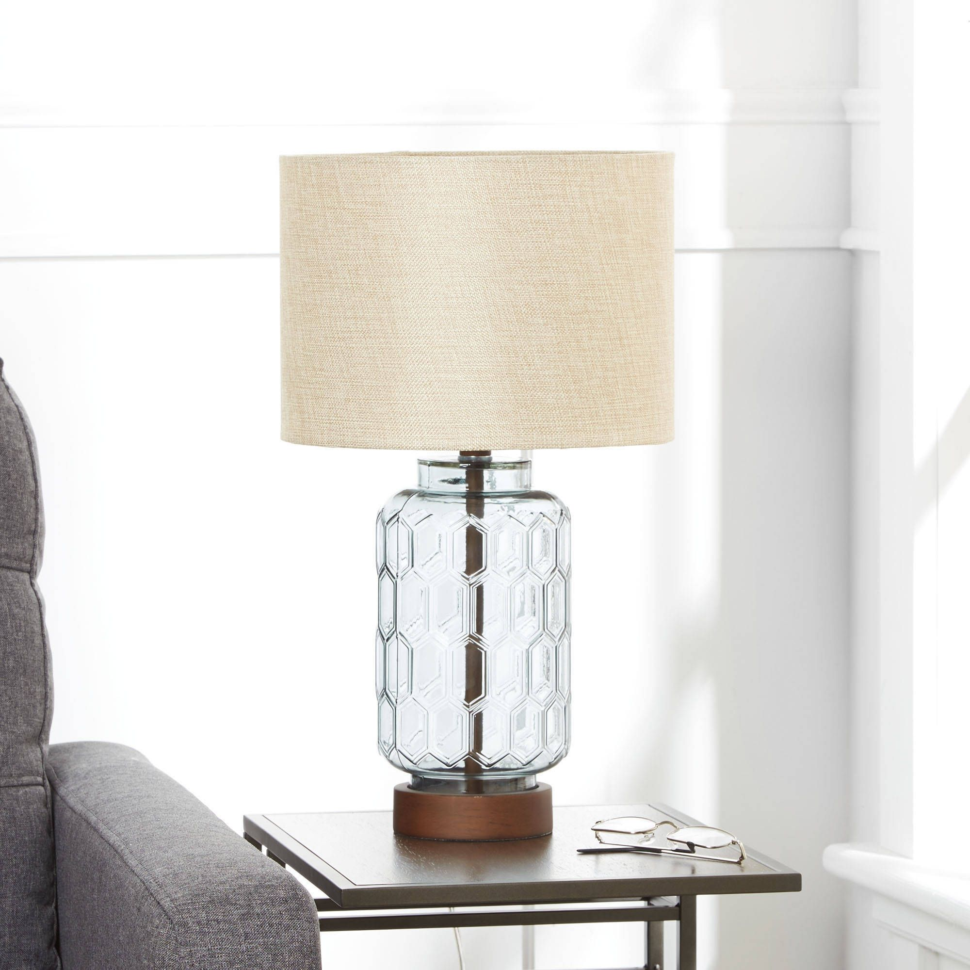 Better Homes & Gardens Blue Geo Textured Glass Table Lamp