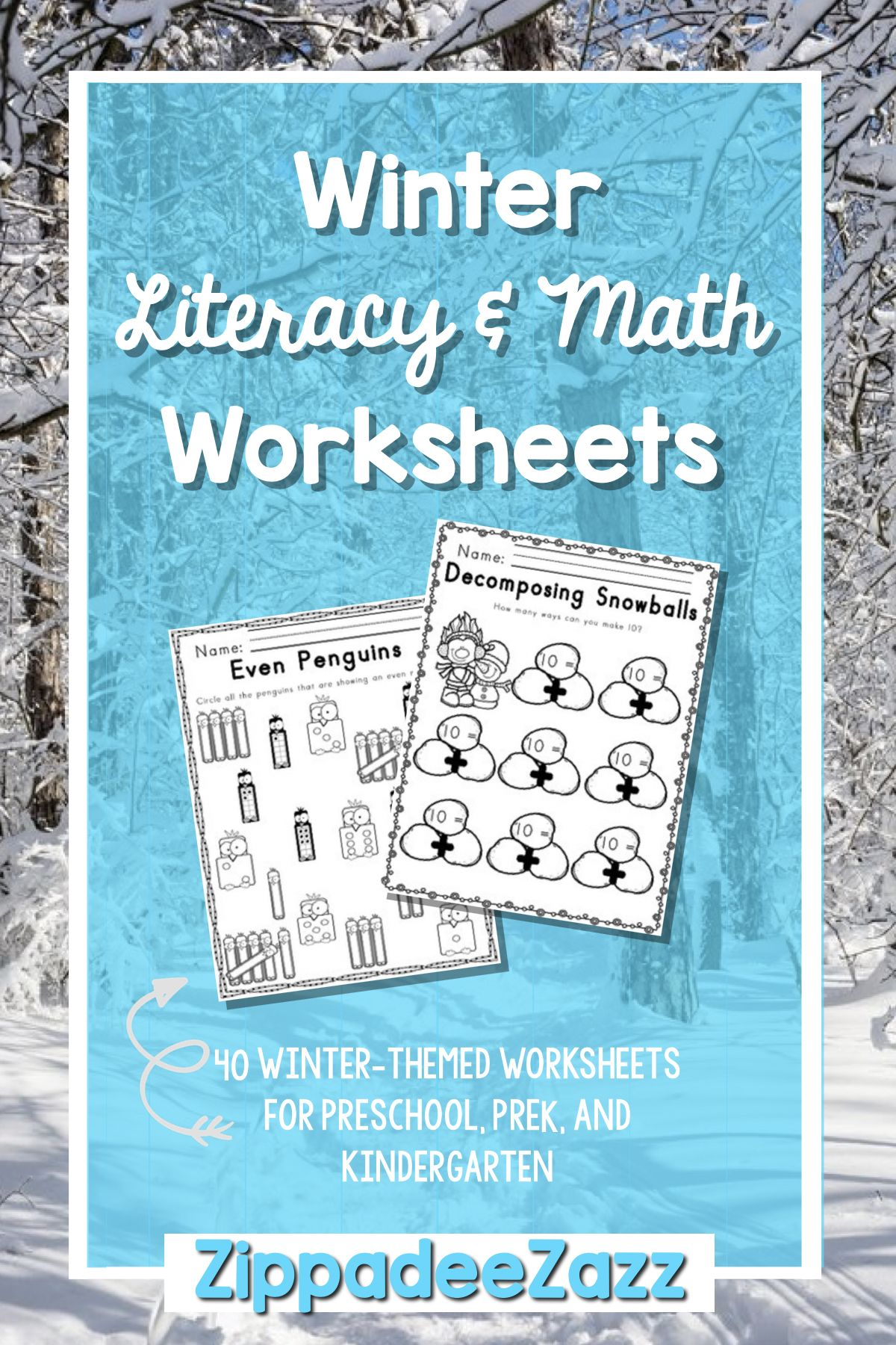 Worksheets for Winter ELA Literacy and Math Activities | My ...
