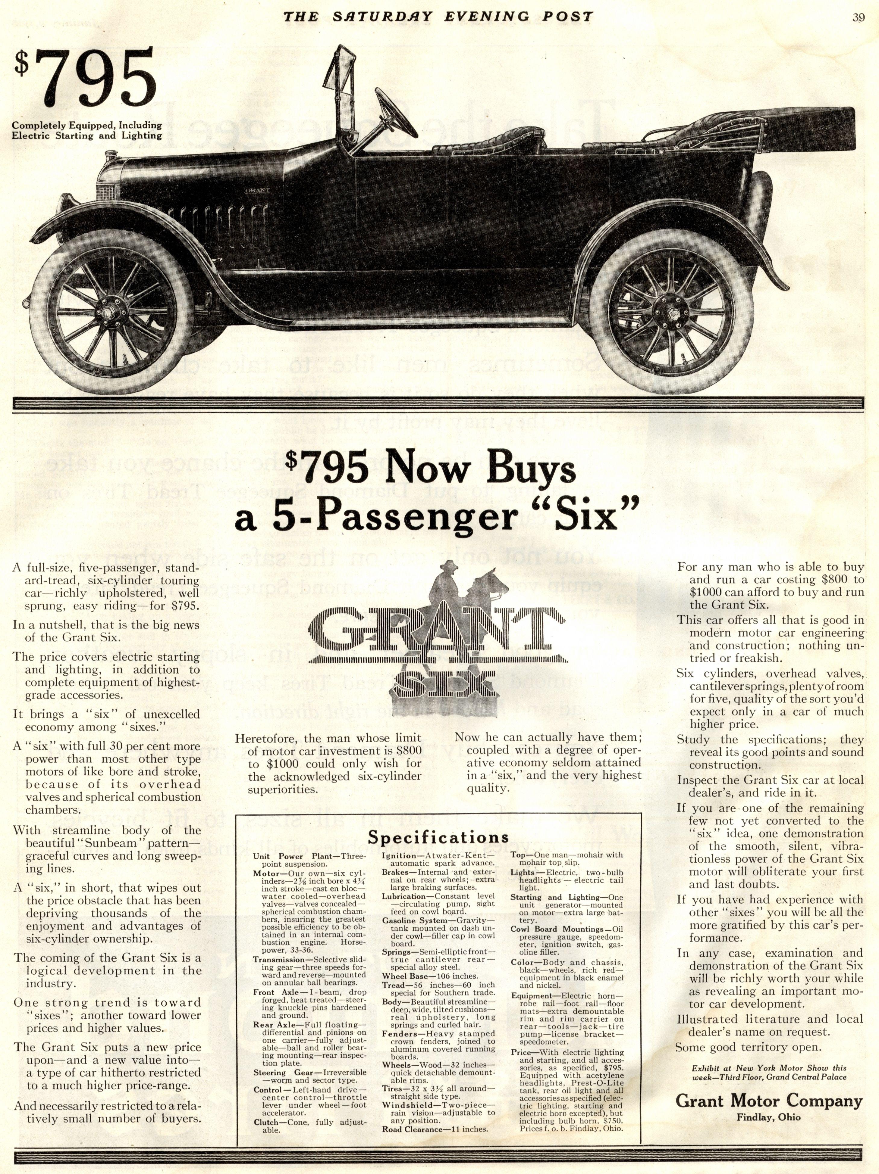 Grant The Saay Evening Post January 9 1915 Findlay Ohio Car Advertising
