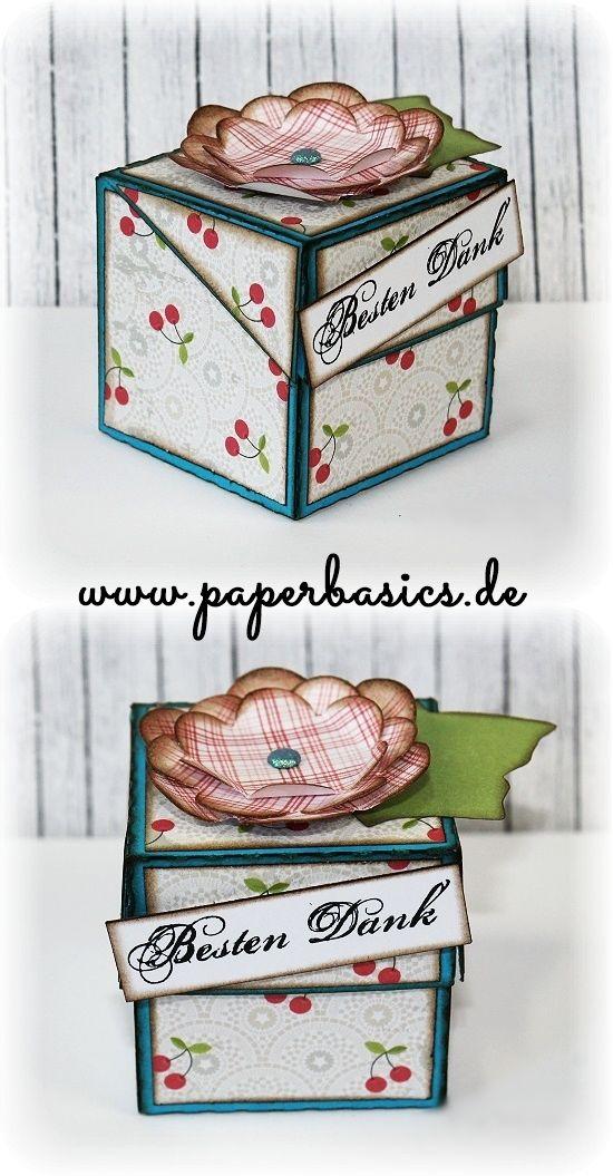 Kleines Dankeschön!!  Hier haben wir für euch eine süße, kleine Paperbox zum verschenken und dekorieren.  Sieht wunderschön aus und ist auch schnell gemacht, probiert´s doch mal aus!  Das Bastelmaterial findet ihr auf www.paperbasics.de  Viel Spaß beim kreativ werden!