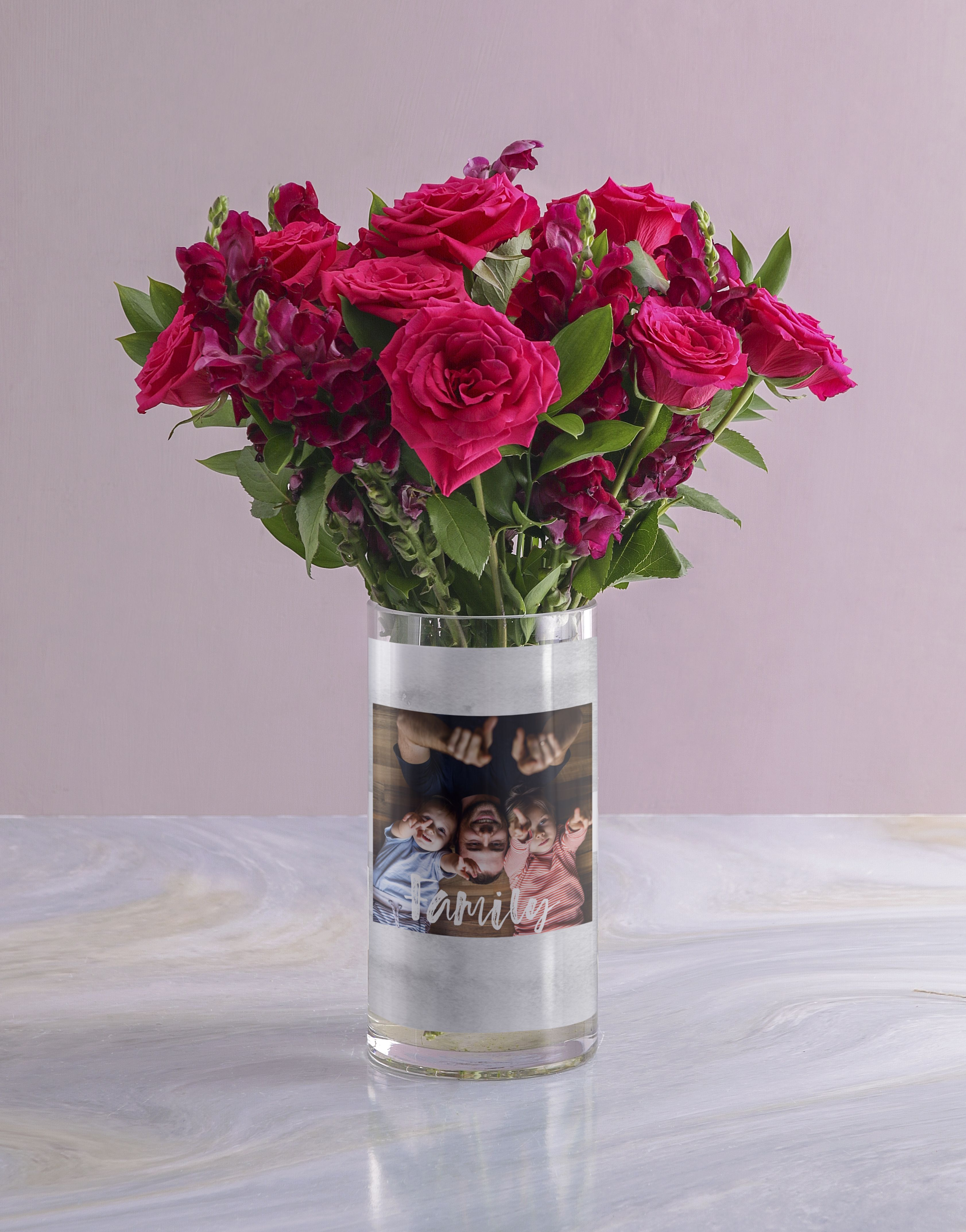 Personalised Family Rose Bunch Photo Vase (With images