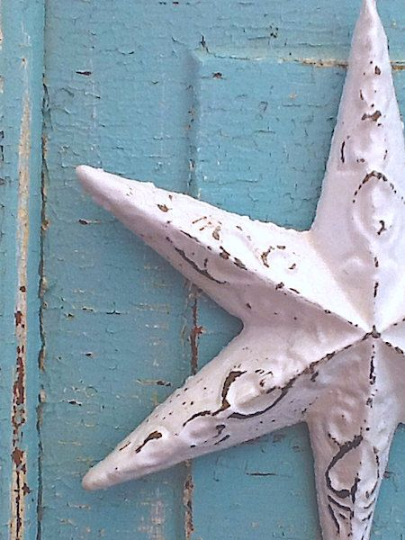 Shabby Chic White -Winter White Star- Metal Wall Decor-Cast Iron-Old  World-Distressed -Bathroom Fixture-Summer Home-Nautical Home-Natural