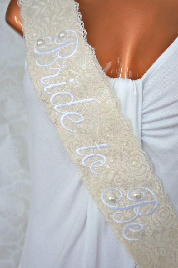 shabby chic lace bridal sash vintage ivory by crystallizeddesign