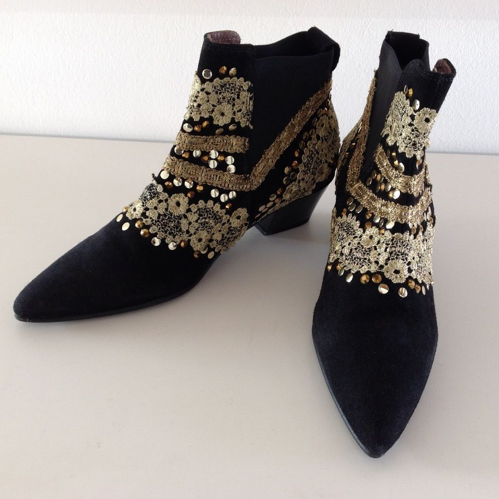 M Ankle Hamp; Ethno Schwarz Leder Trend Gold Blogger Boots Rar 8N0mnw