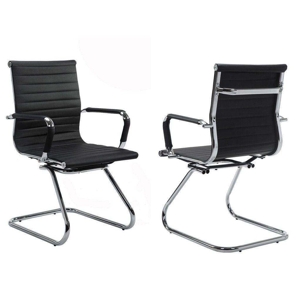Wahson Sled Leather Office Guest Chair Reception Waiting Room Heavy Duty Black 2pcs