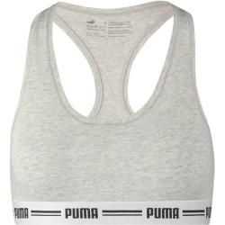 Photo of Puma Women's Sports Bra Iconic Racer Back Bra, Size Xl in Gray Melange, Size Xl in Gray Melange Puma