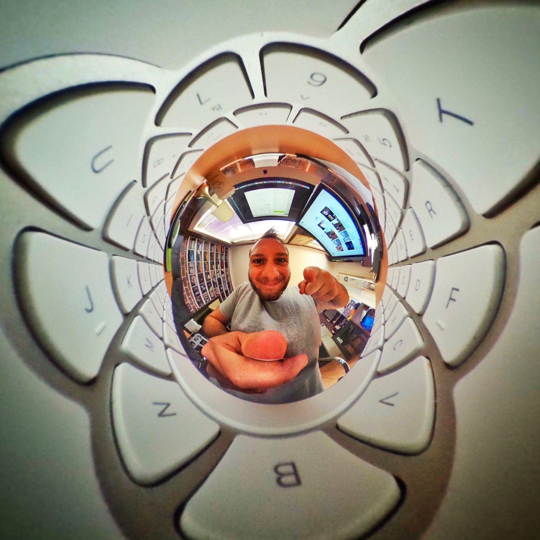 Keyboard Vortex (See more: http://facebook.com/lifein360photo) #mac #computer #vortex #keyboard #360photo #lifein360 #theta360 #tinyplanet