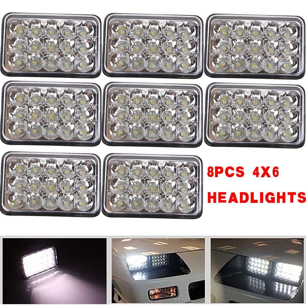 8PC 4x6 Sealed Beam LED Headlights Chrome H4651 H4652 H4656 ... H Headlight Wiring Diagram on
