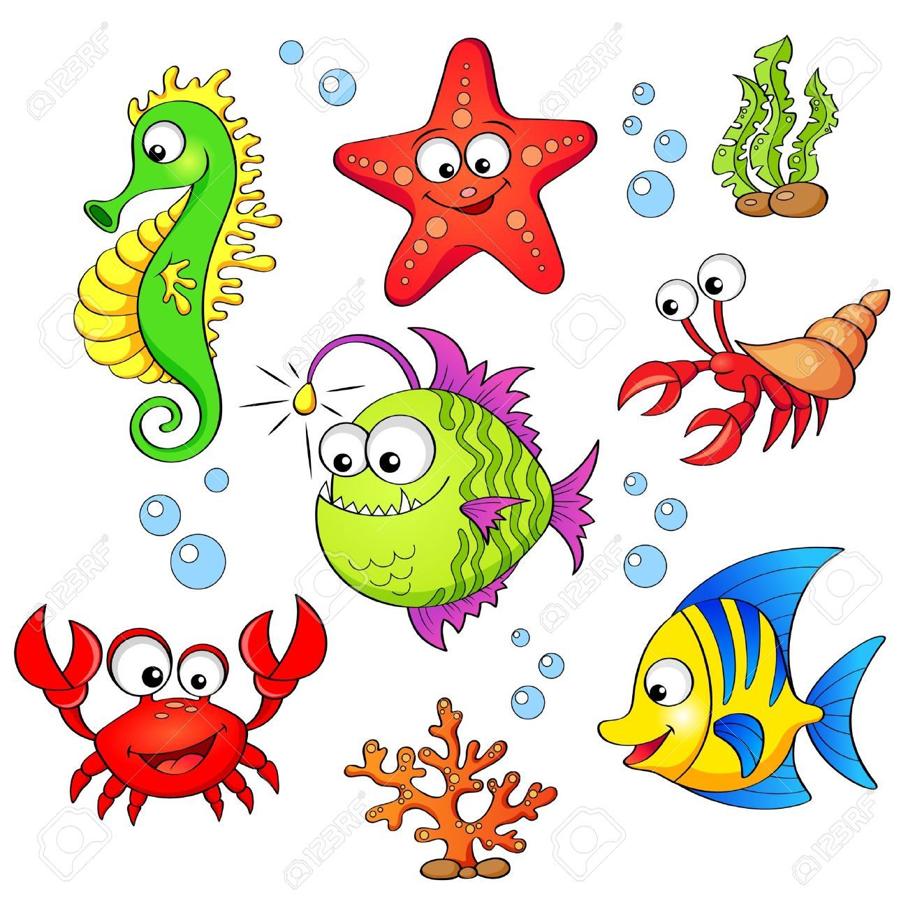 Image Result For Sea Life Illustration Cartoon Sea Animals Sea Animals Cartoon Fish
